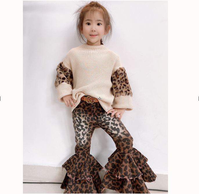 RTS Winter double flare bells kids bell bottom pants girls printed double jean bells