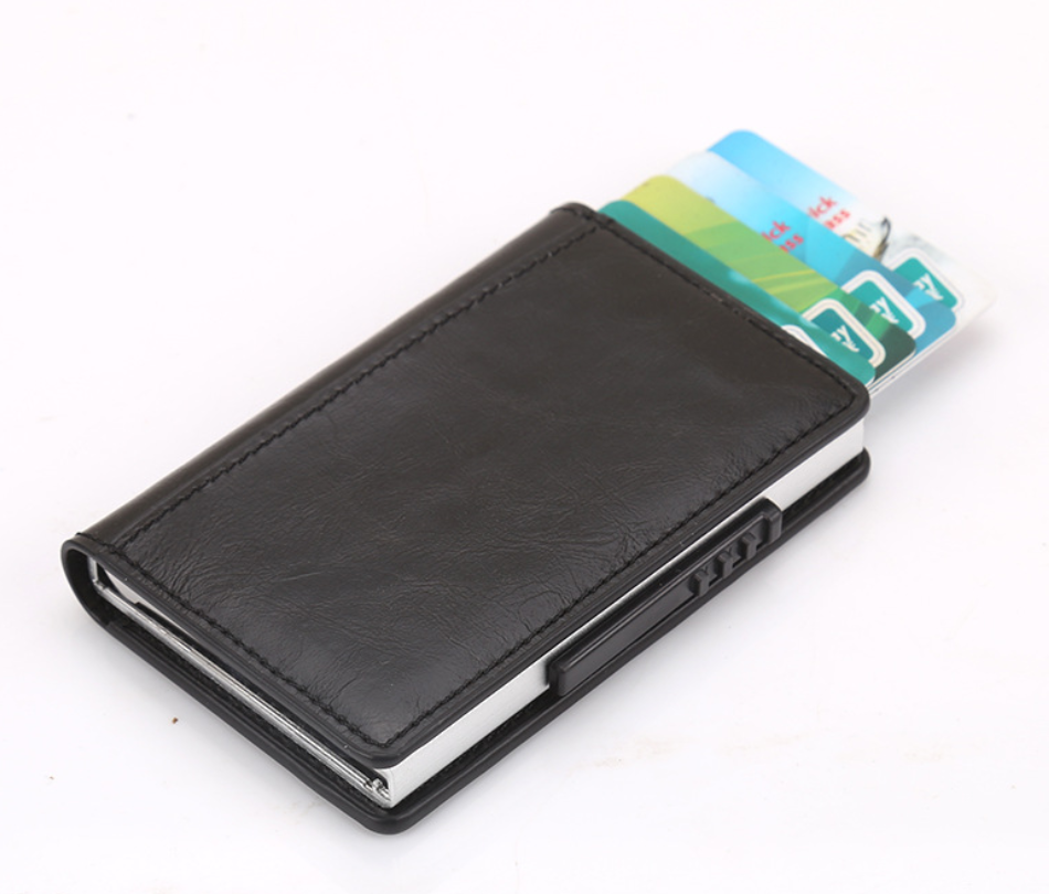 RFID Blocking PU Credit Card Bank Card Holder With Pop Up Function Slim Wallet Portable Card Wallet