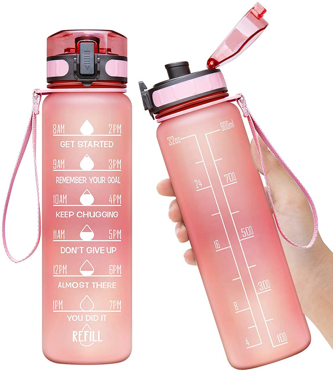 32oz PINK Motivational Fitness Sports Water Bottle with Time Marker & Removable Strainer,Fast Flow BPA Free Plastic Bottle