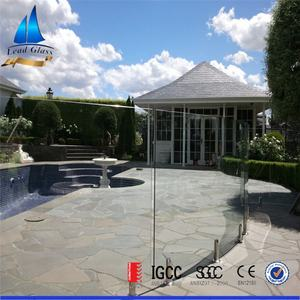 10mm 12mm Flat or Curved Tempered Glass Panels For Swimming Pool Fence