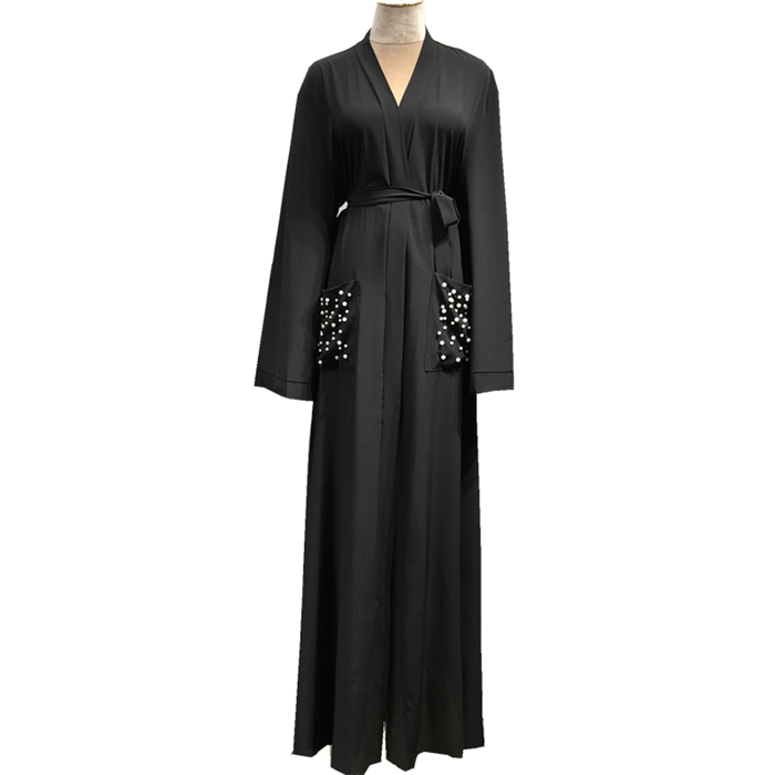 Wholesale soft crepe pearl pocket front open abaya