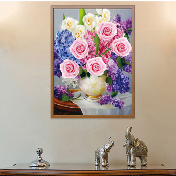 Hot sale diy colorful flowers 5d full drill crystal diamond painting cross stitch without frame for wall art decoration