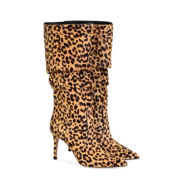 European Leopard Heap Boots For Women Fashion Shallow Mouth Pointed Heel Shoes For Mature Lady Sexy Mid-calf Boots For Girl