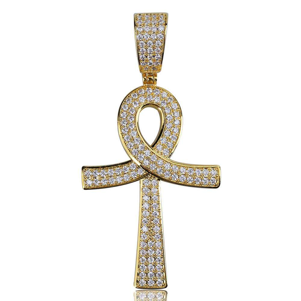 Beiyan jewelry 2020 popular urban fashion charm hip hop diamond Ankh Key Cross pendant