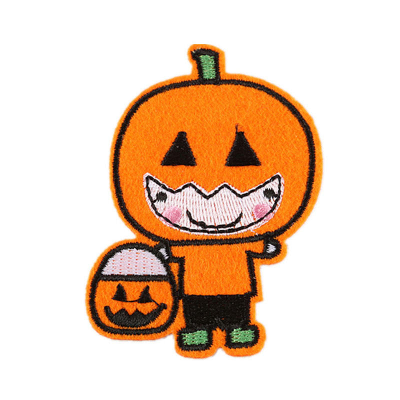 Embroidery Pumpkin lamp skull head patch Clothing jeans hat shoes use Baby Clothing accessories Halloween use patch