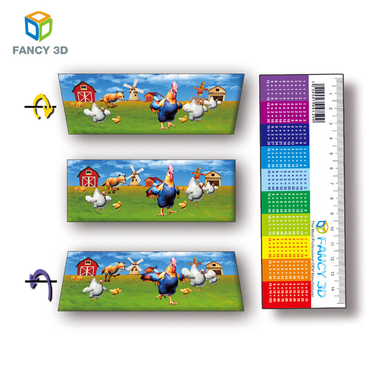 cheap and high quality Customized Size 3d lenticular rulers for school kids and promotion gifts
