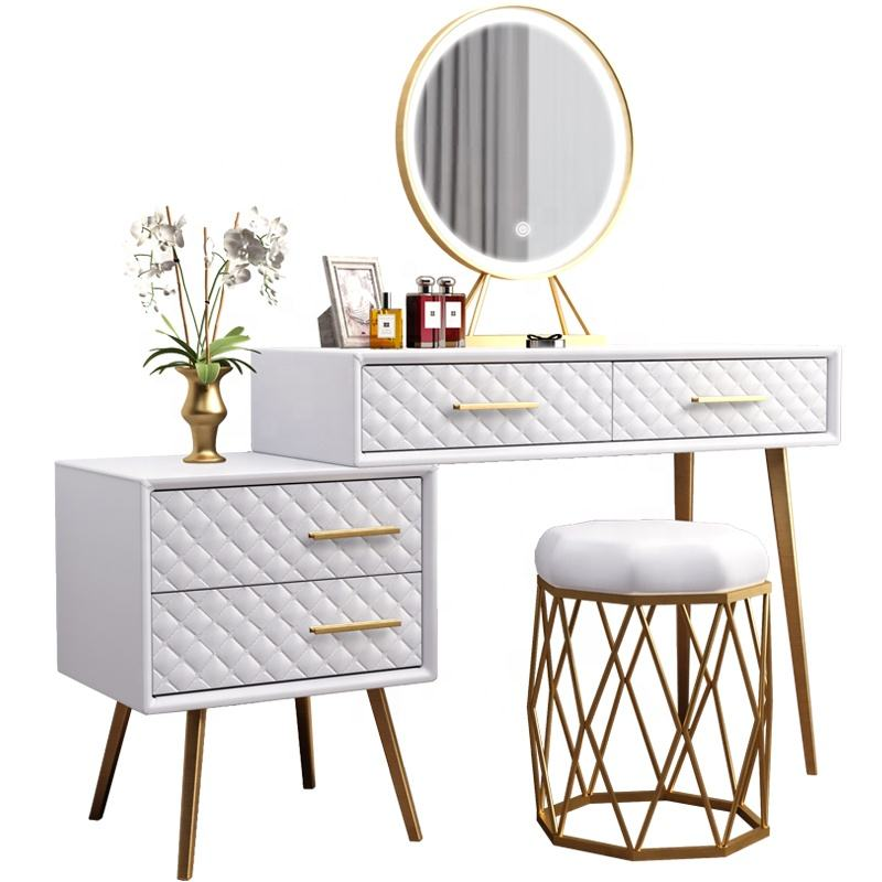 Dressing Table Mirrors Dresser Iron Golden Gold White Nordic Metal Technology Makeup China Vanity Desk