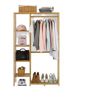 Bamboo Wood Clothing Garment Rack with Shelves Clothes Hanging Rack Stand