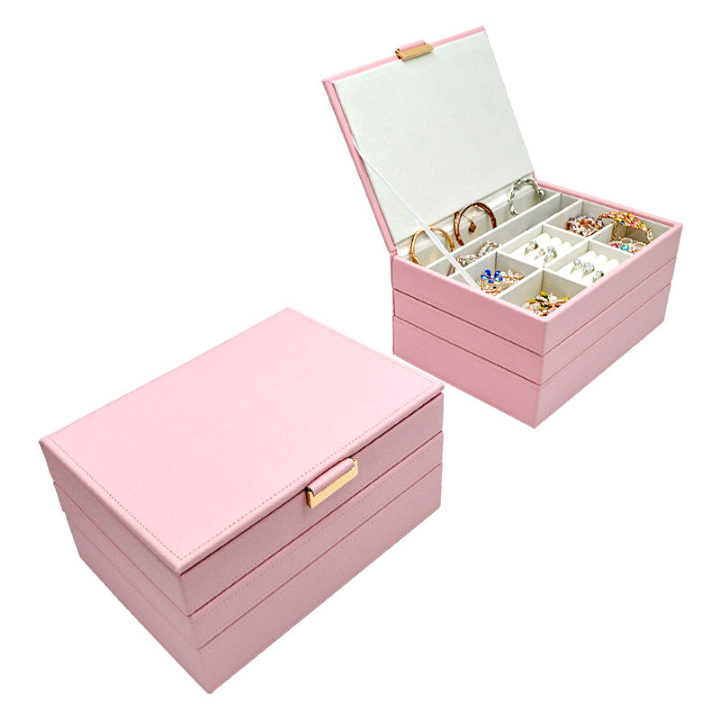 Custom Jewel Organizer Luxury Large Jewelry Box Leather Stacker Jewellery Display Boxes