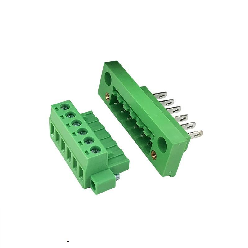 5.08mm pitch through wall terminal block panel mount connections female and male Brass cage XK2EDGWB-5.08 2EDGKM-5.08