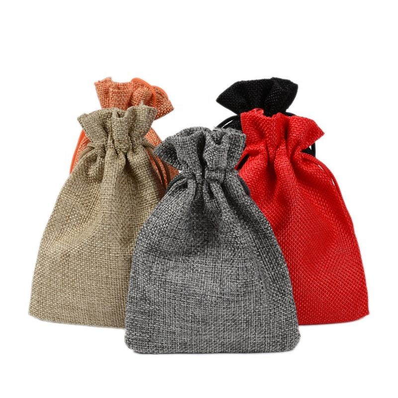 cheap 10*14cm Small Hessian Linen Jute Drawstring Pouch for Gift Coffee Bean Wedding Party Christmas Candy Jewelry Burlap Bags