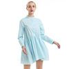 Latest Hot Selling Ladies Sweet Baby-Doll Dresses Women Sky Blue O-Neck Long Sleeve Maid Dress