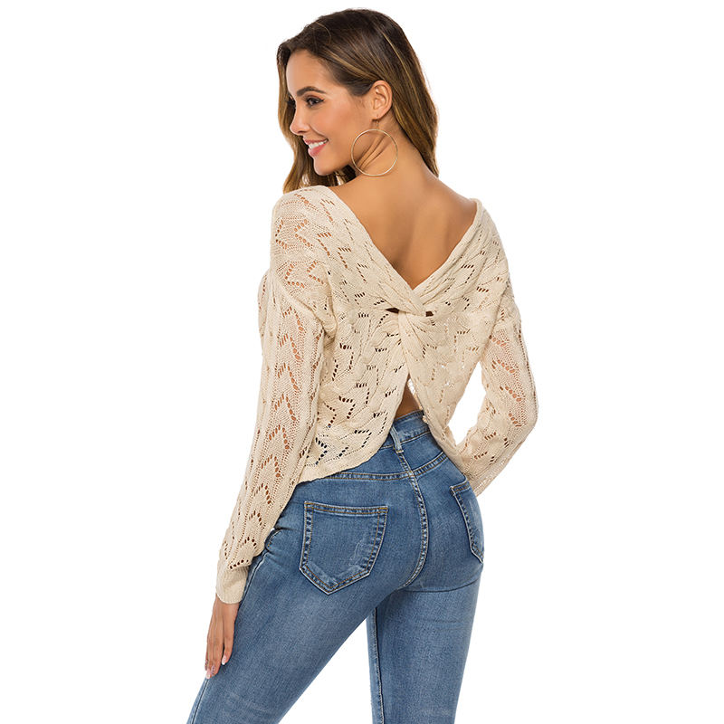 Summer Reversible Cross Crop Top V Neck Long Sleeve Butterfly Design Hollow Knitted Sweater For Ladies