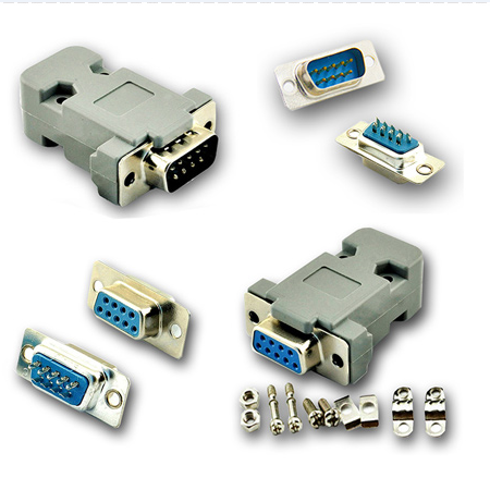 DB9 serial connector RS232 9 pin double row welded head male/female connector housing