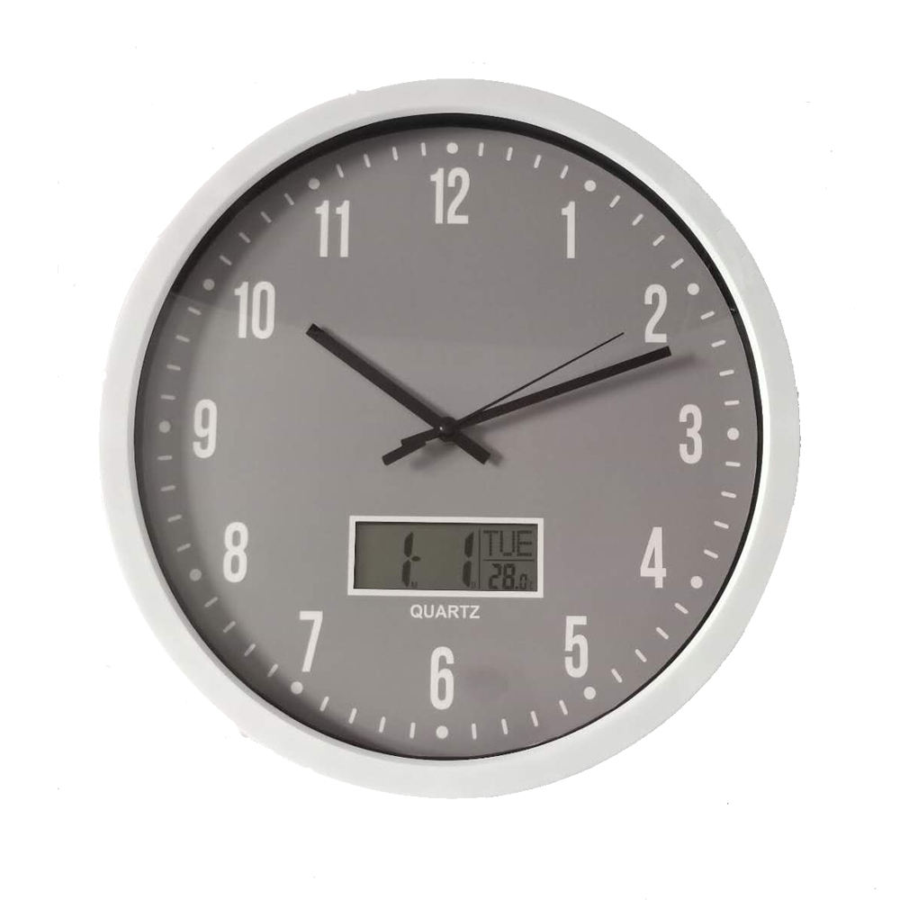 14Inch plastic sweep movement promotion gift digital clock wall clock with date and temperature display