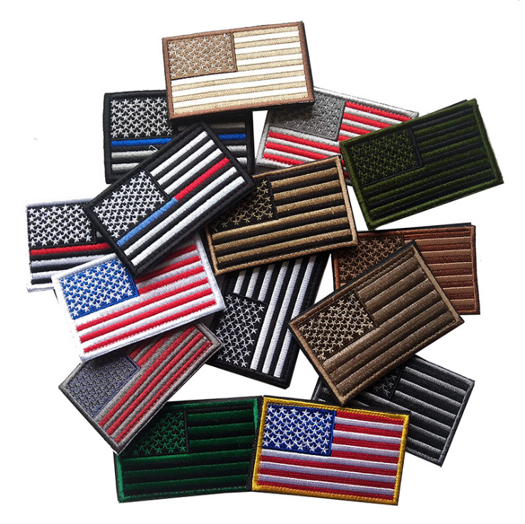 Different color embroidered american country flag patch with hook and loop backing