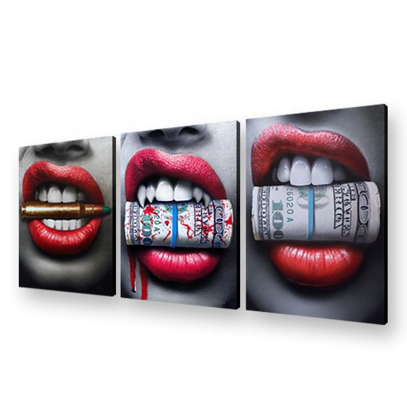 Modern Printed Posters Sexy Lips Bite Bullet And Money Pop Art Canvas Prints Painting For Home Decoration