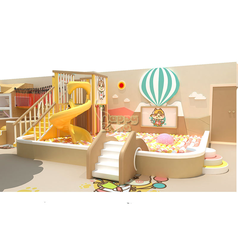 Custom Design Concept Indoor Nature Wooden Combined Soft Play Area with Customized Slide and Kids Role Play Town
