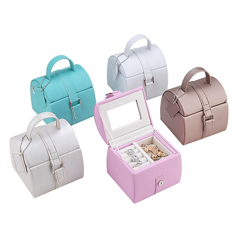 wholesale pu leather luxury kids portable case velvet custom children mirror gift box with ribbon
