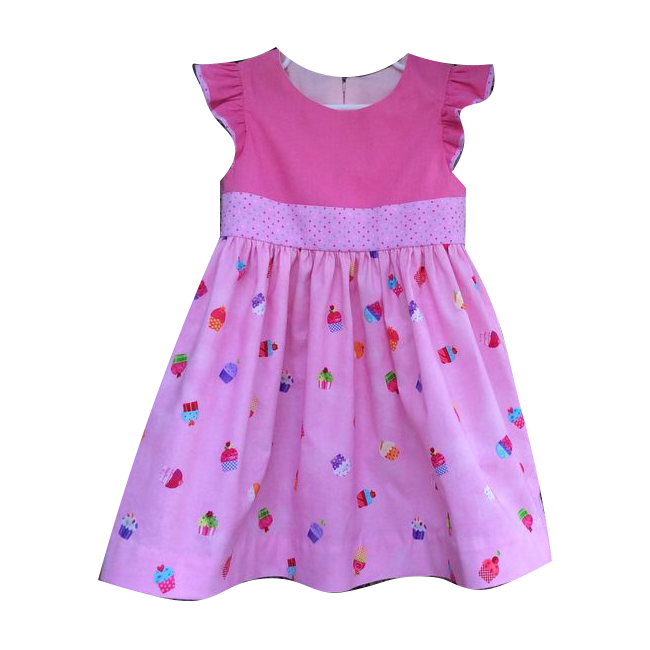 QLD20 toddlers girls cotton dress polka dots cupcakes dress 1-14t ruffle sleeves factory OEM mix color/size kids dress hot sell