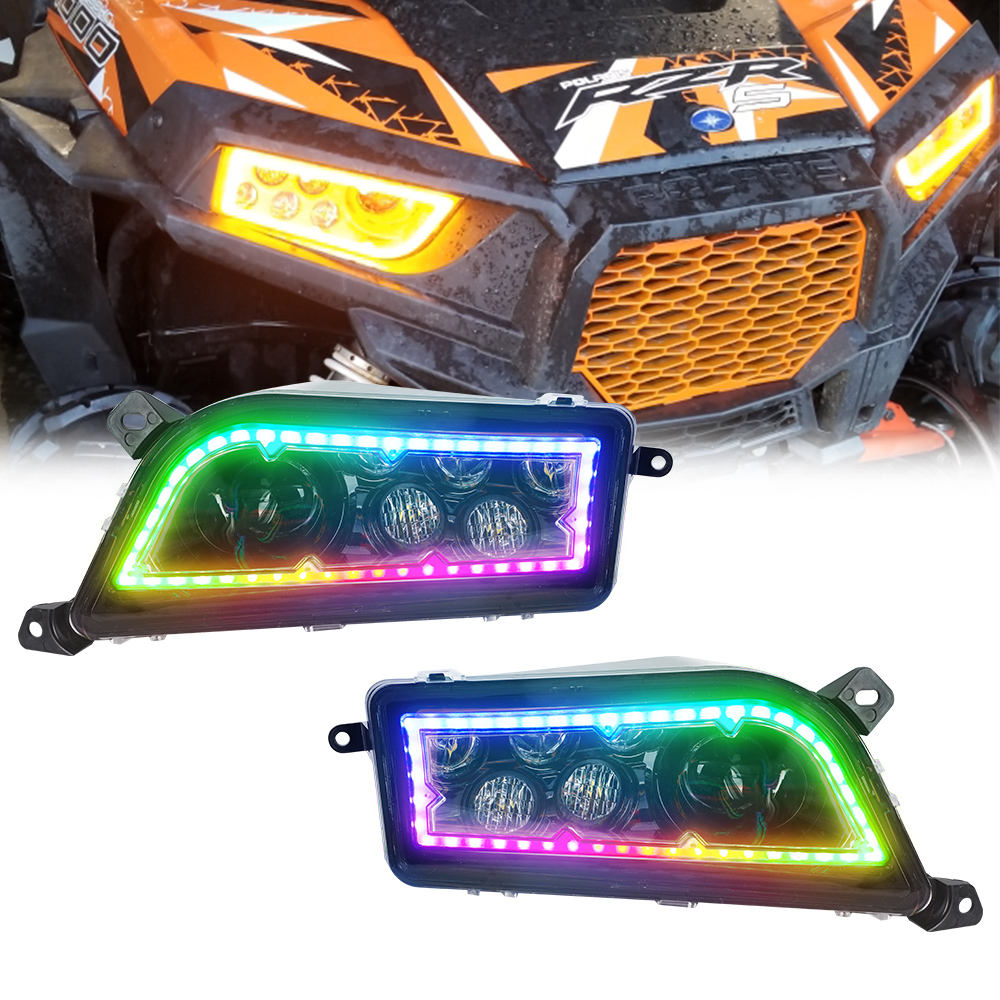 New RGB LED Headlight Replacement atv 4x4 atv headlight 14-17 UTV ATV for Polaris RZR XP 1000 RZR 900