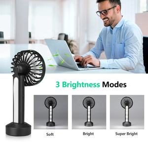 Wholesale Battery Charging Portable Electric Hand Usb Rechargeable Handheld Mobile Fans With Led Light