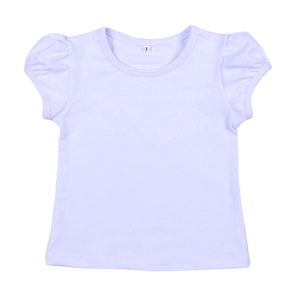 wholesale no moq blanks cotton RTS white plain short sleeve summer breathable kids girls t shirts in bulk