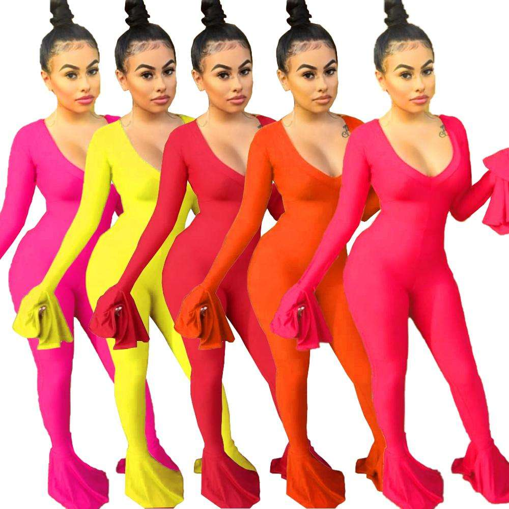 Wholesale woman ruffle sleeve sexy solid color one piece bodycon jumpsuit outfit with long pant