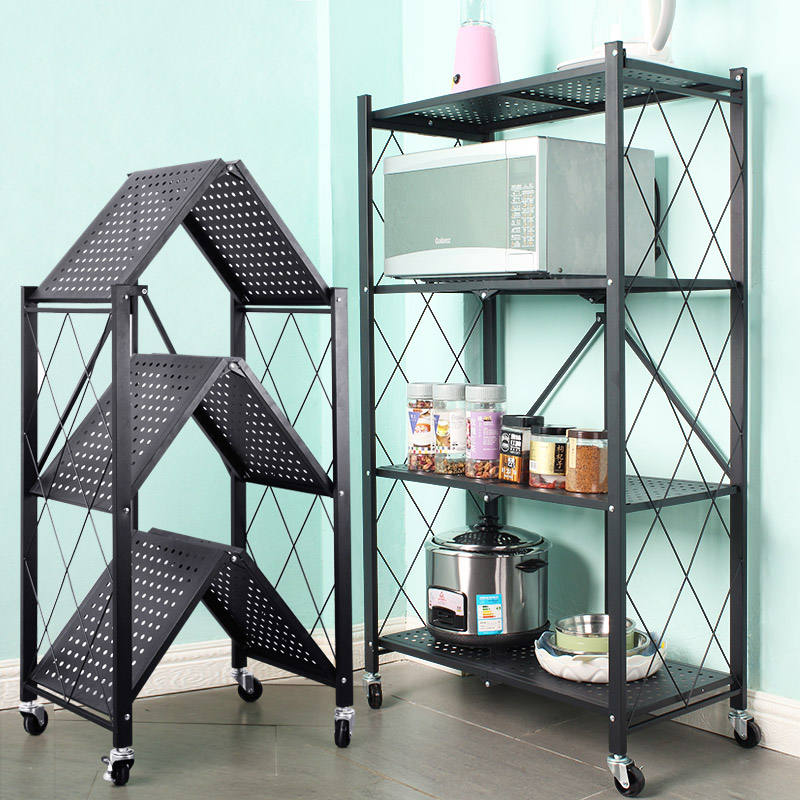 foldable metal rack kitchen storage shelf home free Installation storage shelf