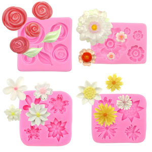 377-380 set factory stock 4 different kind flower shape silicone lace mold, fondant mold silicon resin mold