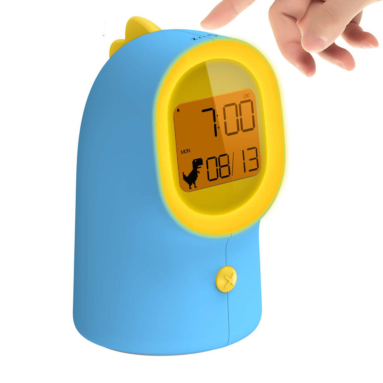 Children Alarm Clock with Night Light, Sleep Trainer for Teaching Kids Time to Wake up with 2 Rings, Digital Clock with Battery