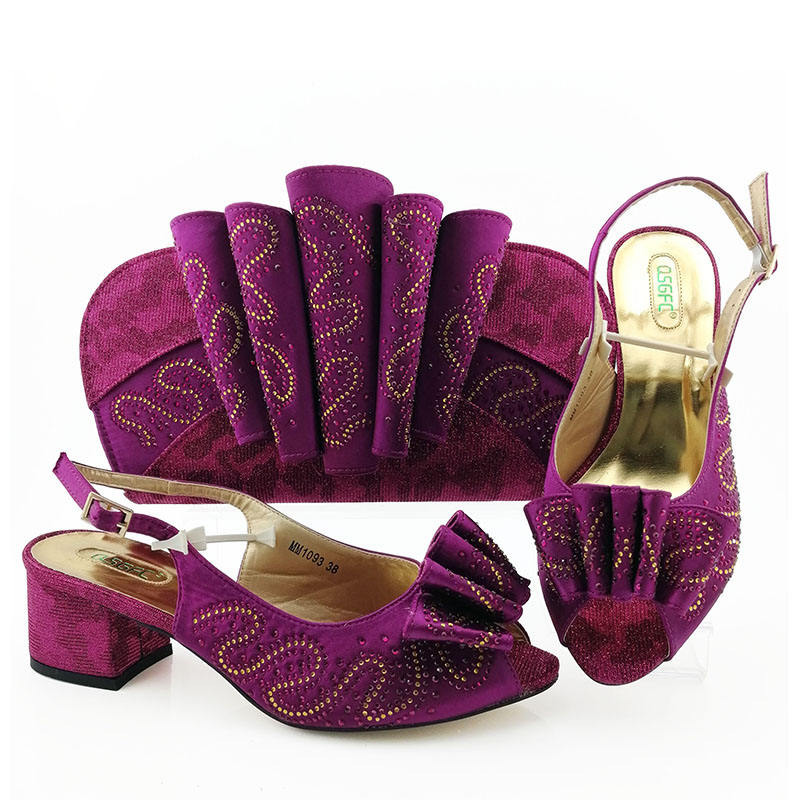 2019 Latest Bestway 5.8 inches low heel fashionable PURPLE shoes and matching bags women dress Size 38-42