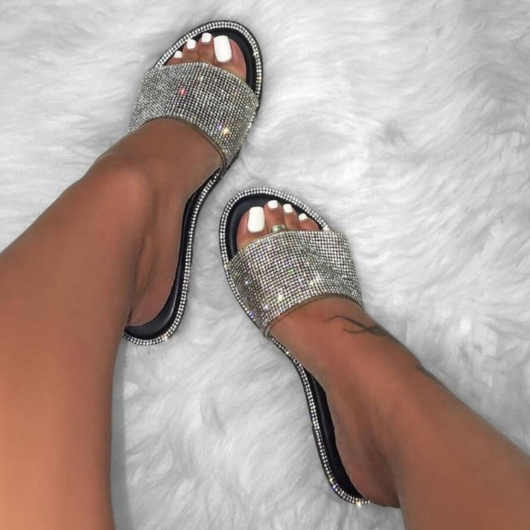 EVA diamond sequins spring and autumn fashion women's sandals PVC flat bottom ladies beach slippers Candy color 4 colors