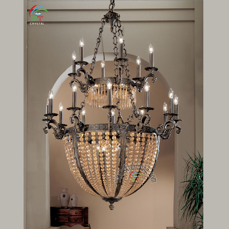 Vintage Ottone <span class=keywords><strong>Antico</strong></span> <span class=keywords><strong>Lampadario</strong></span> Luce di Soffitto A Due Strati di Cristallo <span class=keywords><strong>Prismi</strong></span>