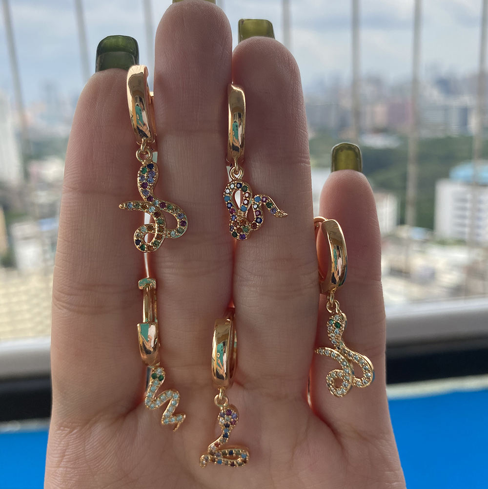 18k 14k gold plated wholesale small gold earrings woman 2020 ladies earrings designs snake hanging charm hughes earring
