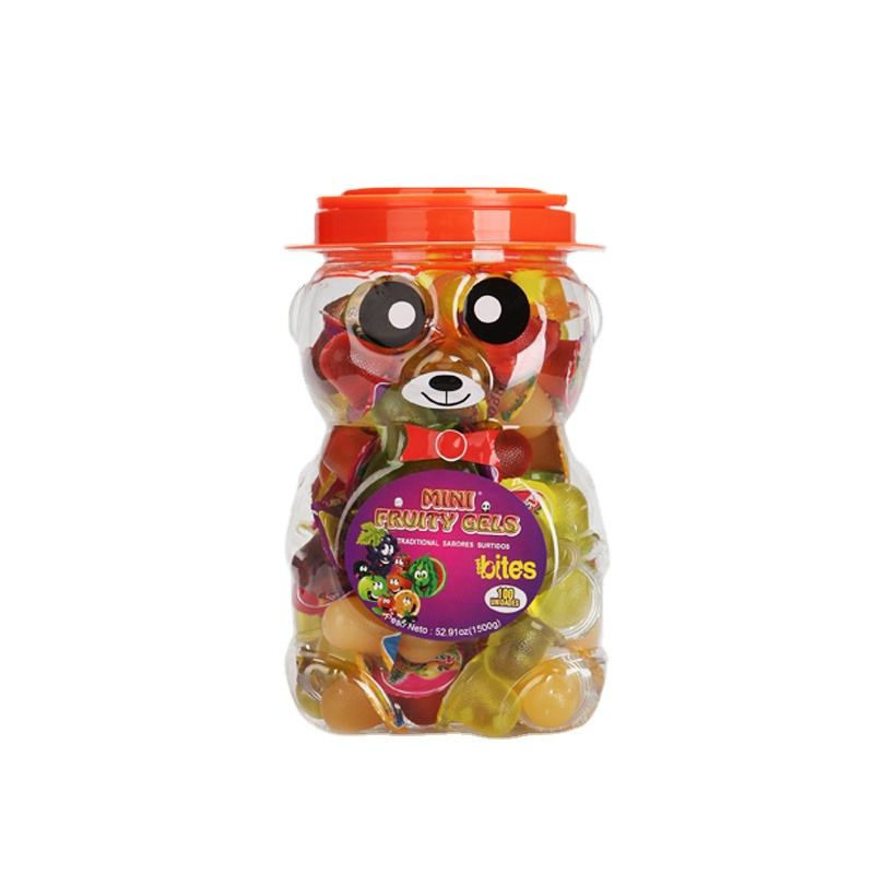 Child favorite candy snacks ,100pcs candied fruit jelly in plastic bear jelly jars