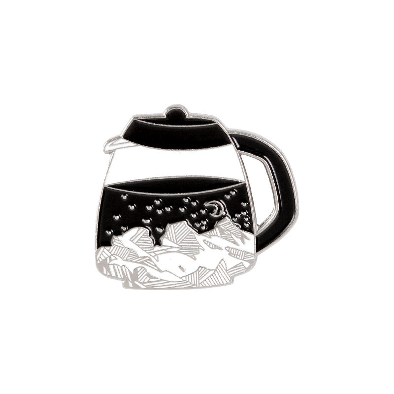 Starry Night Coffee Pot Enamel Pin Custom Mountain Moon Stars Brooch for Shirt Lapel Bag Outdoors Badge Jewelry Gift for Friends