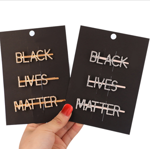 BLACK LIVES MATTER rhinestone letter hair accessories stock crystal hair clip set girls hairpins