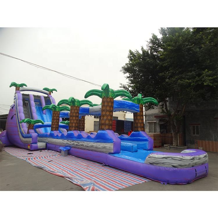 Outdoor 18ft purple palm tree giant Inflatable water Slide For Adult
