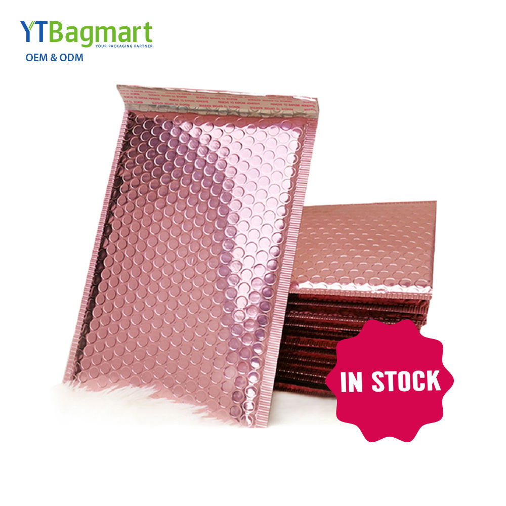 Custom Logo Metallic Foil Mailing Bags Padded Envelopes Shipping Packaging Rose Gold Mailer Bubble