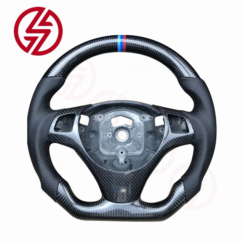 Wholesale custom leather carbon fiber car steering wheel for BMW M3 E92 2006 2007 2008 2009 200