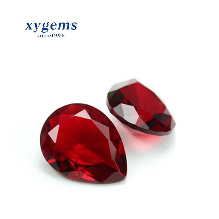 Pear Cut Dark Red Glass Gemstone for Jewelry Making