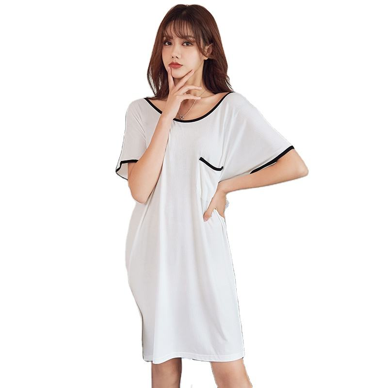 Nighty Young Ladies Sleep Dress Summer Short Sleeved Cool Modal Nightgown Solid Soft Elastic Lingerie Dressing Gown Soft Modal