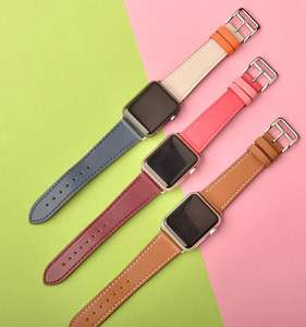 Jmax Barenia Leather Loop Stainless Steel Buckle for Hermes Style Single Tour band Watch Strap For Apple Watch 42 38 40 44 mm