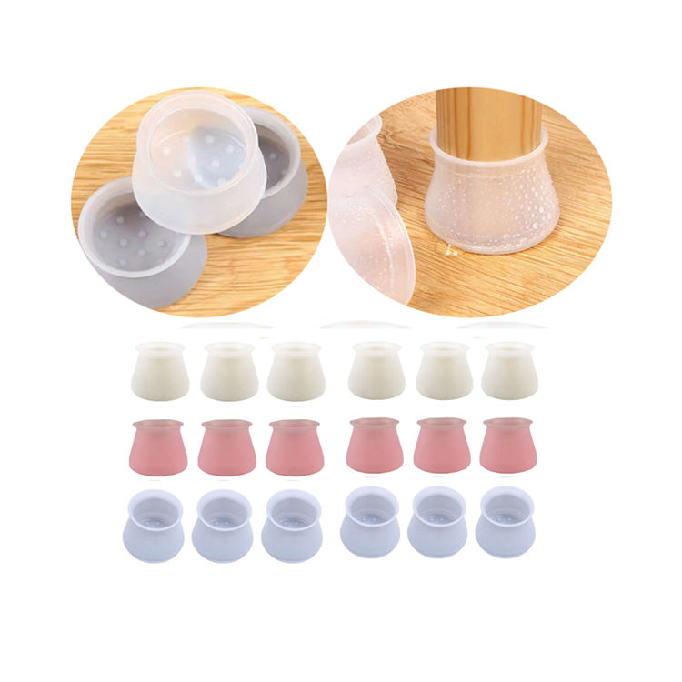 10pcs Square Round Silicone Table Cover Chair Leg Caps Feet Floor Protectors DLW