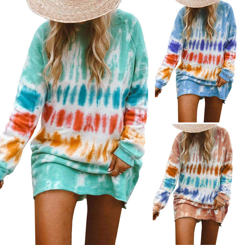 2020 New Arrival Fashion Casual Fall Clothing Tie Dye Long Sleeve Mini Winter Dresses Women