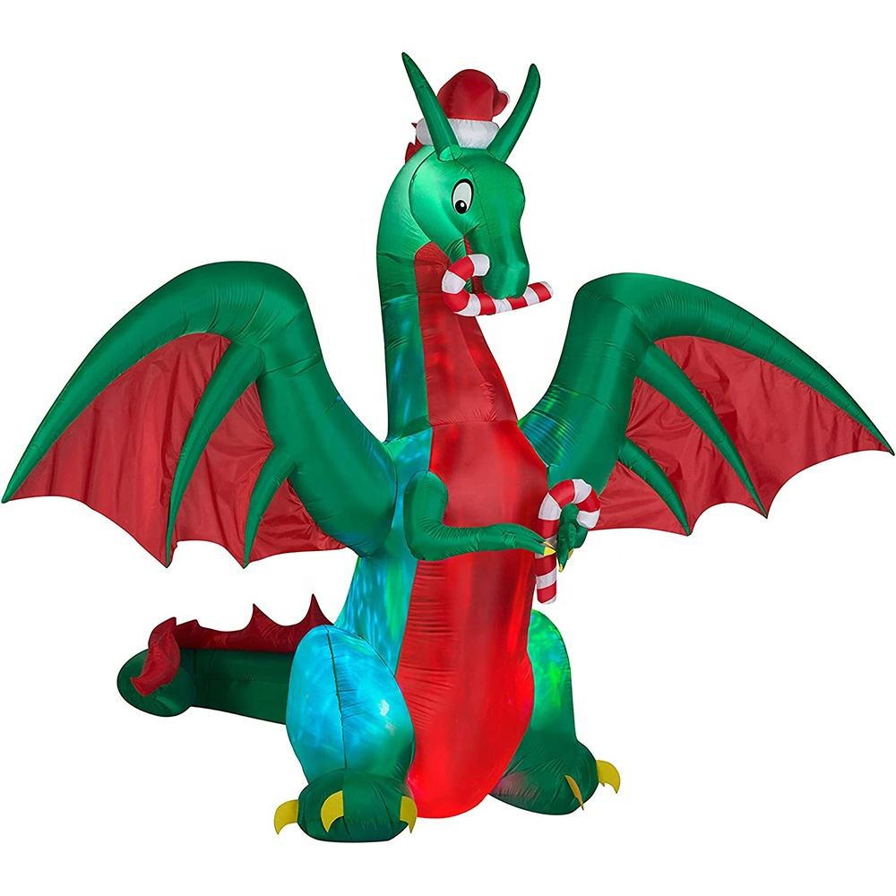 Wholesale airblown inflatable 9' projection kaleidoscope giant Christmas dragon inflatable with Santa hat