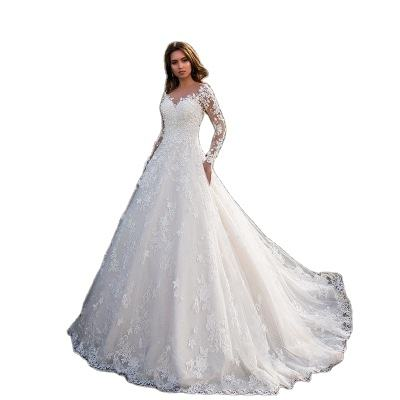 In Stock Plus Size Lace Wedding Dress 2020 Pictures New Long sleeves Wedding Dress With Long Tail