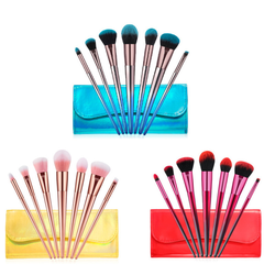 Hot sale private label 7pcs Vegan Hair Cosmetic Makeup Brush Set with PU bag