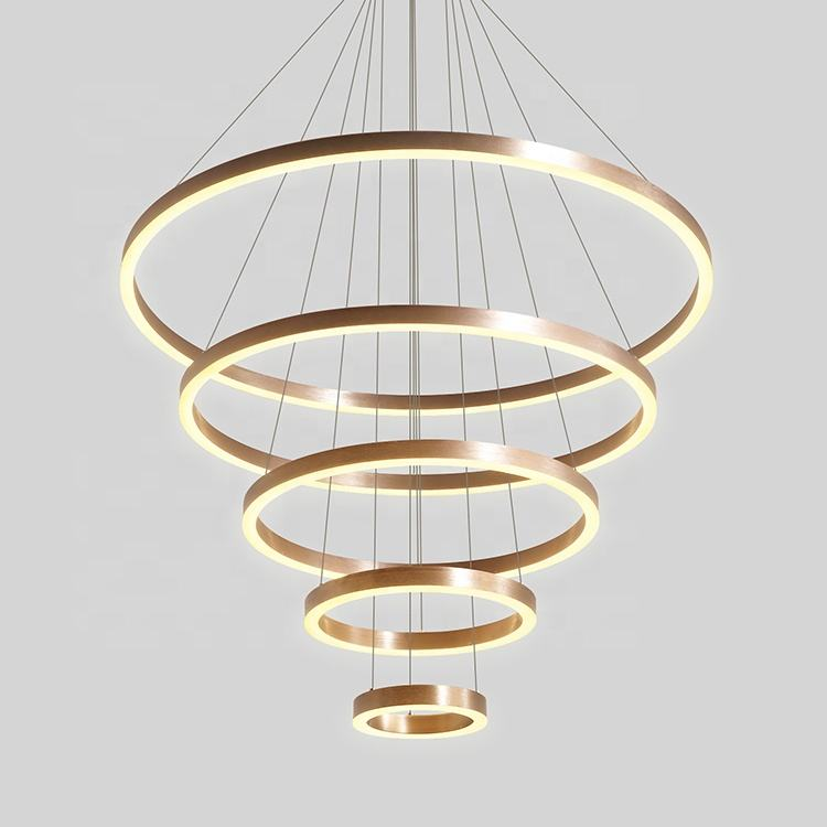 D=200mm+400mm+600mm+800mm+D1000MM 5 brass rings led pendant lamp modern hanging lamp
